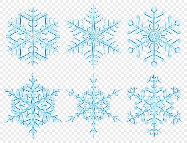 Conjunto de grandes flocos de neve de natal translúcidos complexos em cores azuis claras, isolados em fundo transparente. transparência apenas em formato vetorial