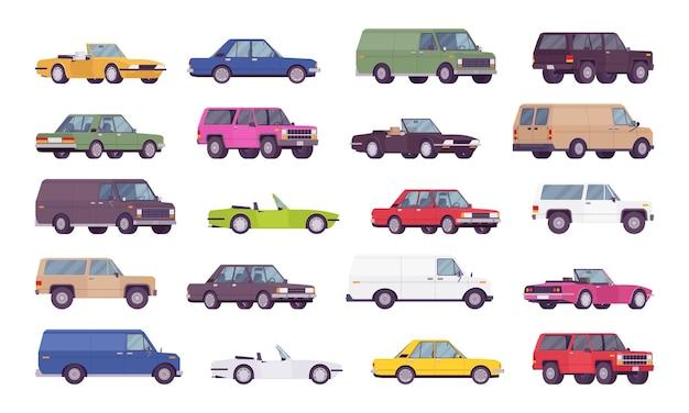 Conjunto de grandes pacotes de carros