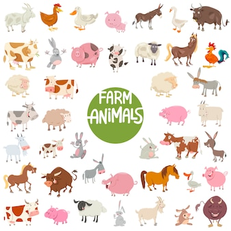 Conjunto de grandes personagens de animais de fazenda