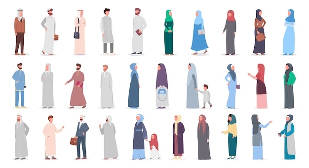 Conjunto de grandes pessoas muçulmanas. mulher árabe e coleção de homem de terno diferente e roupas tradicionais. mulher usando hijab. religião do islã. ilustração