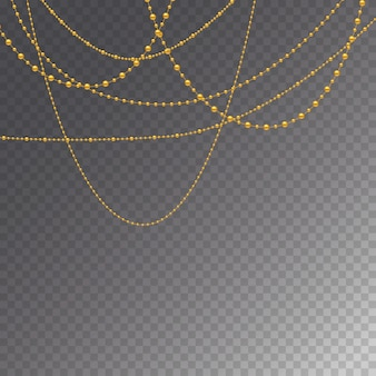 Conjunto de grânulos de ouro e correntes de ouro.