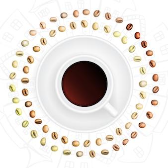 Conjunto de grãos de café arábica e robusta com várias fases de torrefação. ilustração 3d realista da moldura redonda e copo de grãos de café