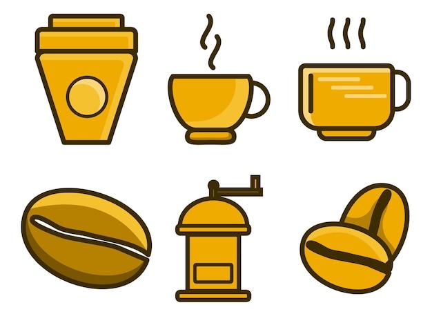 Conjunto de grãos de café