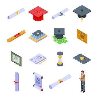 Conjunto de graus. conjunto isométrico de graduação para web design isolado no fundo branco