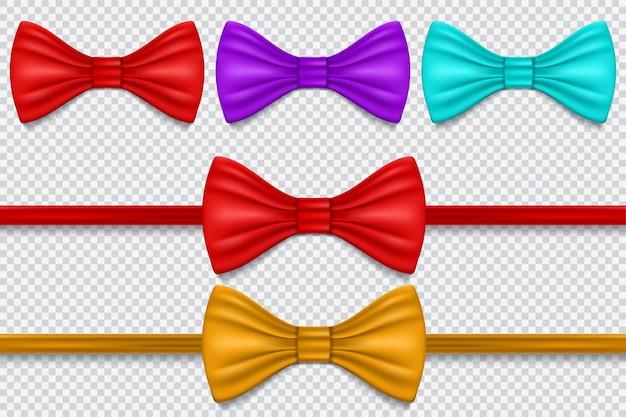 Conjunto de gravata borboleta multicolorida
