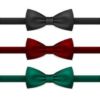 Conjunto de gravata borboleta vector isolado no branco