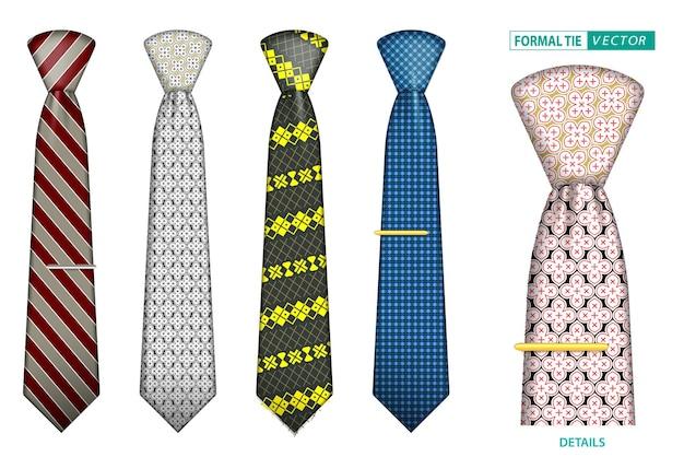 Conjunto de gravata de homem elegante realista ou gravata formal para uniforme de escritório ou vários acessórios de gravata