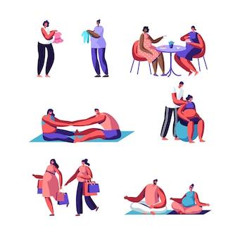 Conjunto de gravidez feliz. atividades esportivas para mulheres grávidas com maridos