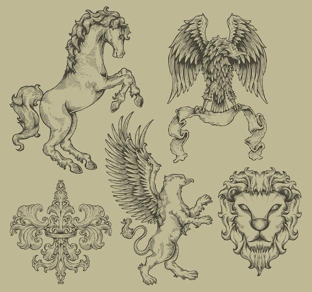 Conjunto de gravura de brasão de crista de heráldica