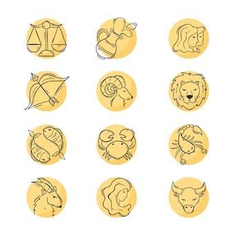 Conjunto de gravura do signo do zodíaco