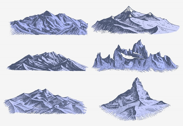 Conjunto de gravura vintage, antiga, com picos de montanhas na mão drawh desenho estilo diferentes versões e cores