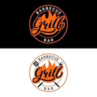 Conjunto de grill bar bar mão escrita letras logotipo, etiqueta, crachá ou emblema com fogo.