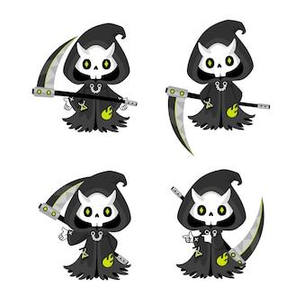Conjunto de grim reaper fofo com foice