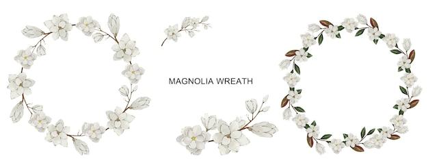 Conjunto de grinalda de flor de magnólia branca