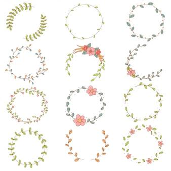 Conjunto de grinalda de flores doodle desenhado à mão