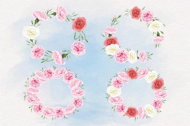 Conjunto de grinalda de flores em aquarela de cravo