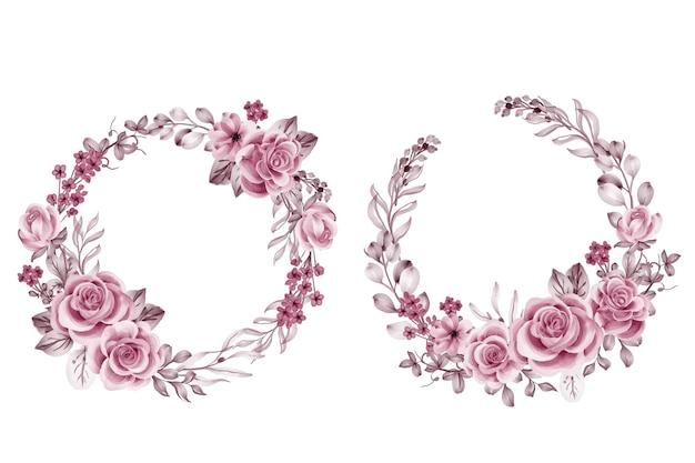 Conjunto de grinalda de flores em ouro rosa rosa e folhas