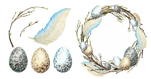 Conjunto de grinalda de páscoa em aquarela de primavera.