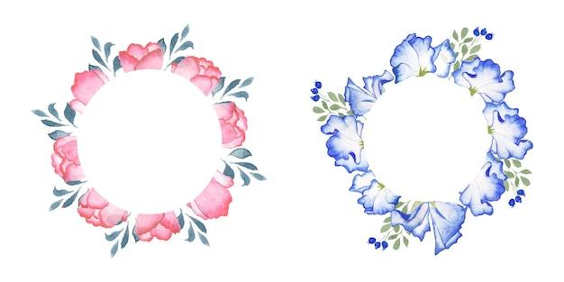 Conjunto de grinalda floral aquarela artesanal Vetor Premium