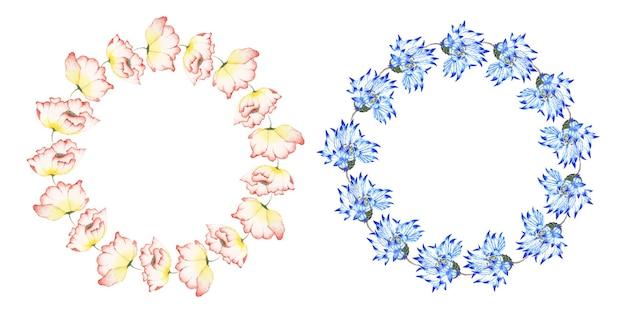 Conjunto de grinalda floral aquarela artesanal Vetor grátis