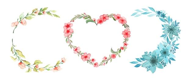 Conjunto de grinalda floral aquarela artesanal