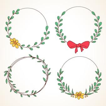 Conjunto de grinalda floral com folhas e frutos em moldura redonda para convites de casamento e cartões comemorativos