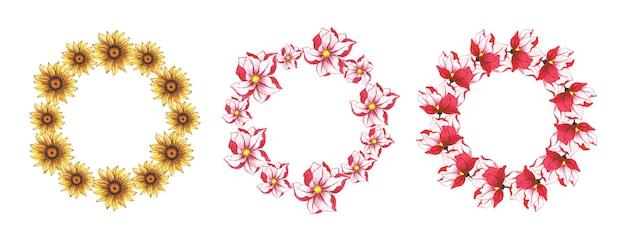 Conjunto de grinalda floral em aquarela