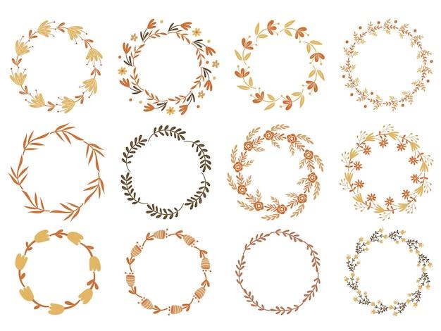 Conjunto de grinalda floral. ilustração vetorial.