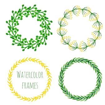 Conjunto de grinaldas de aguarela. coleção de quadros redondos florais em cor verde e amarelo Vetor Premium
