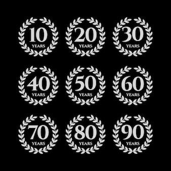 Conjunto de grinaldas de aniversários, vetor Vetor Premium