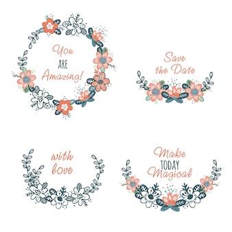 Conjunto de grinaldas de flores abstratas bonitos e texto