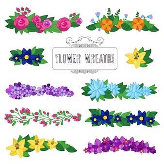 Conjunto de grinaldas de flores. bela decoração floral