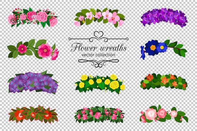 Conjunto de grinaldas de flores