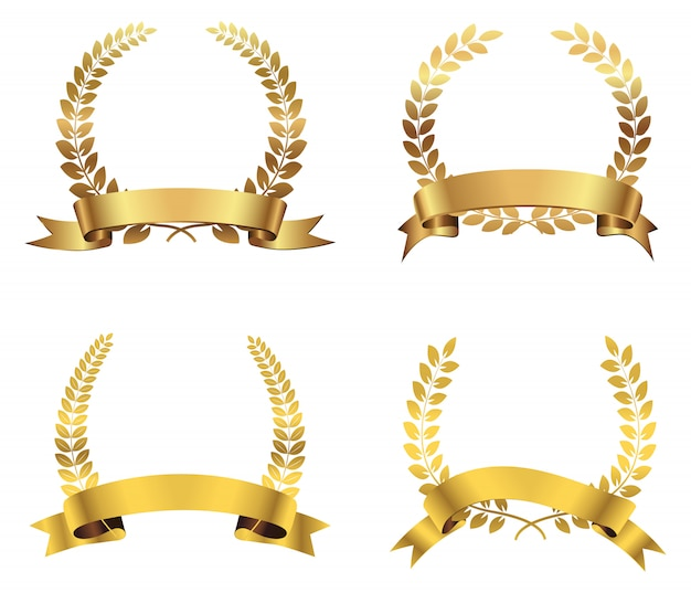 Conjunto de grinaldas de louro dourado