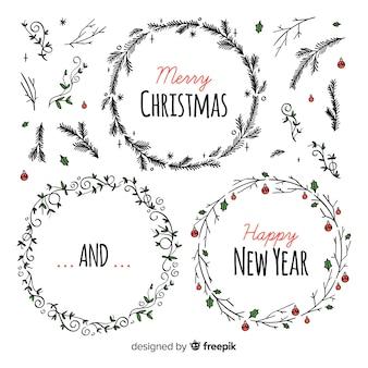 Conjunto de grinaldas de natal e ano novo