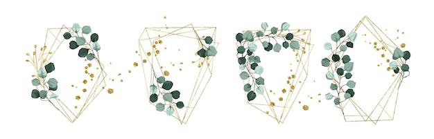 Conjunto de grinaldas florais douradas e molduras