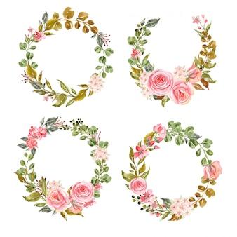 Conjunto de grinaldas florais