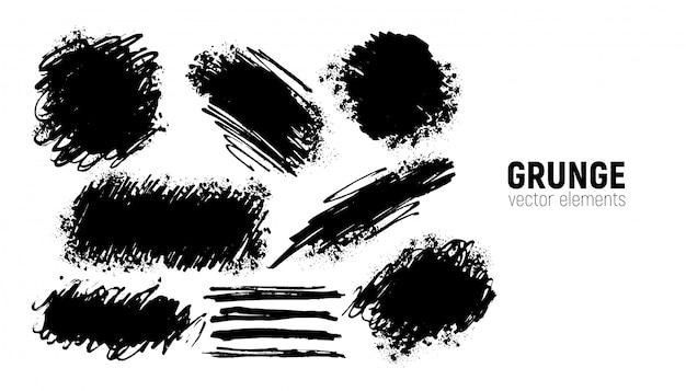 Conjunto de grunge. mão desenhando pinceladas.