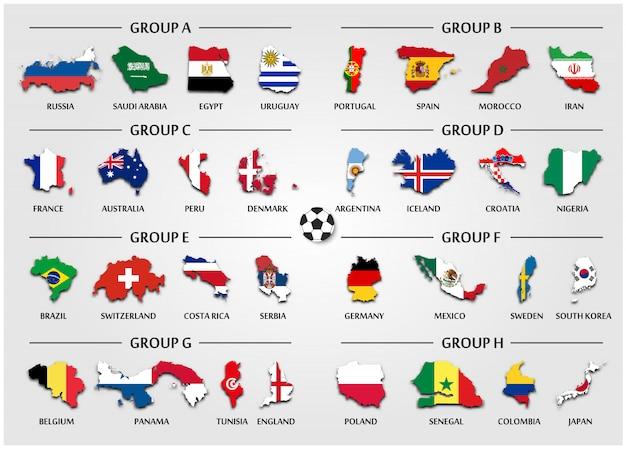 Conjunto de grupo de equipe de futebol ou futebol. mapa do país com a bandeira nacional.
