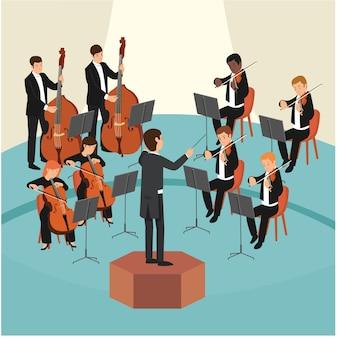 Conjunto de grupo de orquestra com o maestro no palco