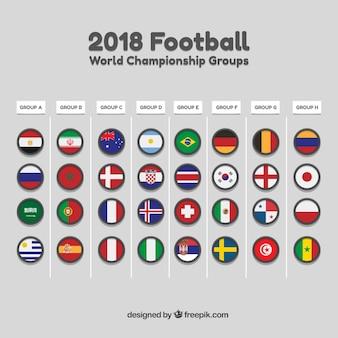 Conjunto de grupos de campeonato do mundo de futebol em estilo simples