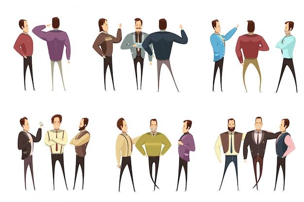 Conjunto de grupos de empresários sorridentes em várias roupas durante o estilo de desenho animado conversa isolado