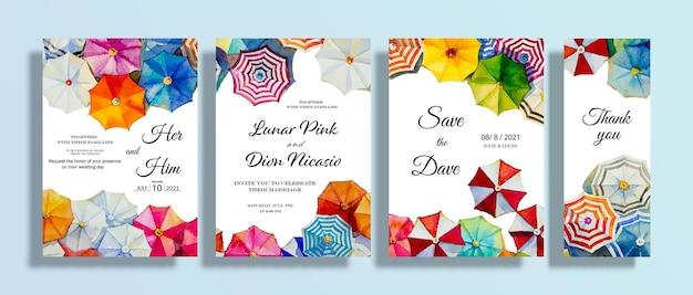 Conjunto de guarda-chuva de pinturas de casamento e cartão de convite com aquarela vista do mar