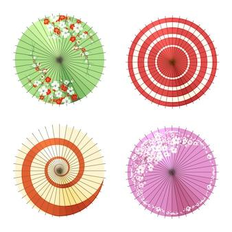 Conjunto de guarda-chuvas asiáticos