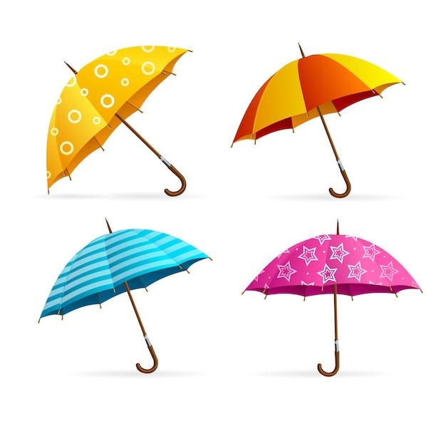 Conjunto de guarda-chuvas coloridos abertos realistas. acessório de moda sazonal. ilustração vetorial