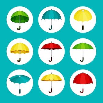Conjunto de guarda-chuvas coloridos