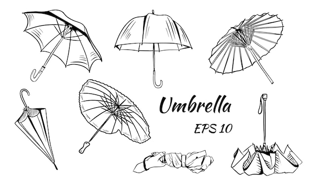 Conjunto de guarda-chuvas. estilo de desenho animado. diferentes guarda-chuvas chineses