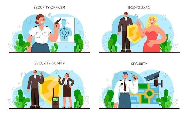 Conjunto de guarda-costas. vigilância e proteção de um cliente ou objeto