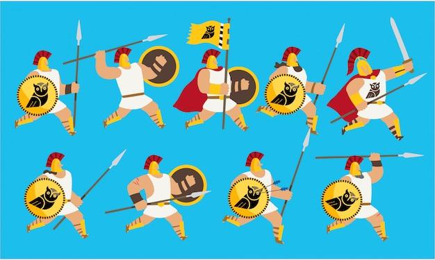 Conjunto de guerreiros do exército grego usando capacetes, escudos e lanças correndo para lutar uma batalha. ilustração editável.