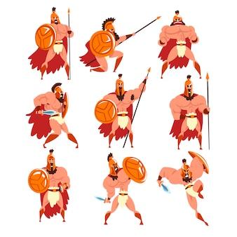 Conjunto de guerreiros espartanos em armadura dourada e capa vermelha, personagens de soldados antigos ilustrações